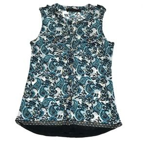 The Limited Paisley Sleeveless Blue Button Down XS